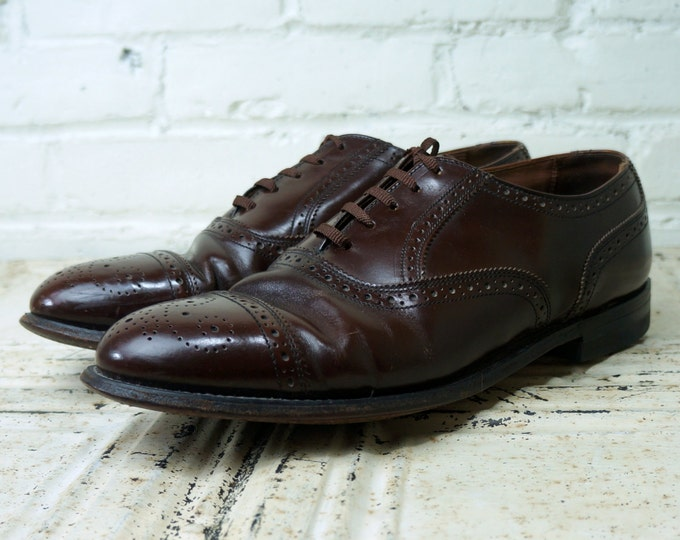 Brown Brogues 1970s Vintage Mens Shoes 11.5 D Men Leather Medallion Cap Toe Traditional Short Wing Tips Balmoral Oxford Hanover Masterflex