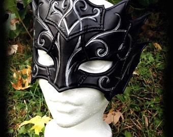 Swirly Mage Mask, costume, fantasy, larp, larping, masquerade, leather