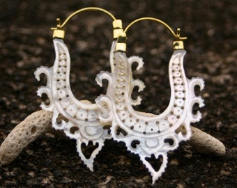 Mother of pearl Earrings - Hoop Earrings - Divine Hoops - brass
