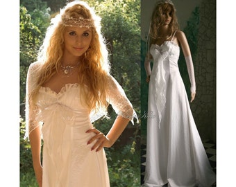 "Ethereal Romantic Angelic White Wedding Dress with Lace Bolero ""Angelina""."