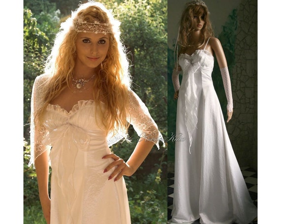 Items similar to ethereal romantic angelic white wedding for Romantic ethereal wedding dresses