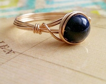 Blue Goldstone Ring, Galaxy Ring, Wire Wrapped jewelry Handmade, Gemstone Jewelry
