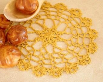 SALE 15% OFF: Mustard crochet doily Small lace doilies Crocheted doily lace Yellow doilies Small cotton crochet doilies