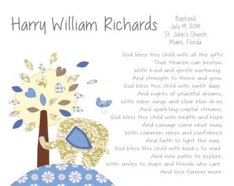 Baptism Gift - Boys Baby Christening Gift - Baptism Tree Gift - Elephant Nursery Decor - Religious Gift - Personalized Keepsake - PRINT