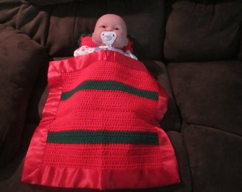 Red abd Green Doll Blanket and Pillow  /  Doll Blanket  / Security Blanket with Satin