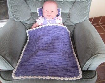 Purple and White Baby Doll Blanket and Pillow Set