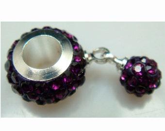 11MM Deep Purple  European Style CZ Crystal Charm Bracelet Bead