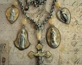 1920's Vintage Religious Celluloid Medals Necklace