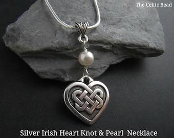 Silver Irish Knot Heart & Swarovski Pearl Necklace