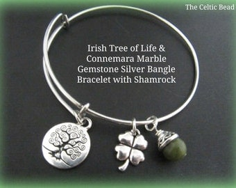 Irish Connemara Marble & Stainless Steel Bangle Bracelet with Irish Tree of Life and Shamrock Charm - Stackable Bracelet - Trendy