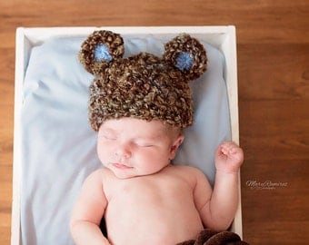 Teddy Bear Hat - Newborn Baby Boy Bear Hat