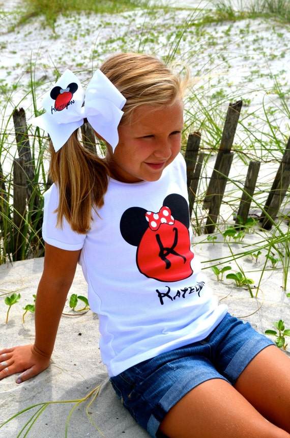 Mouse Ears Personalized Name T Shirt Girls Boys Tee Baby Onesie High Quality Disney Mickey Minnie Shirt