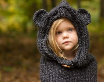 Bear Cowl, Hooded Cowl, Bear Hood, Knitted Bear Cowl, Knitted Hooded Bear Cowl Toddler, Child, Adult Sizes, Made to Order