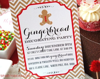 Gingerbread House Decorating Party Invitation - PRINTABLE
