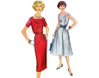 1950s Dress Pattern Simplicity 2584, Square Neckline, Scalloped Side Button, Slim or Flared Skirt, 1958 Vintage Sewing Pattern Bust 36