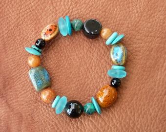 Gypsy Boho Beaded Bracelet - Morrocan Dreams - Handmade Stacking Layer Bracelet - Turquoise, Tangerine, Black - Ceramic, Gemstone, Sea Glass