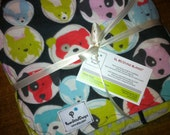 Puppy dog blanket. Large double layer flannel. Gender Neutral.  Ready to go. Perfect for baby or pets.