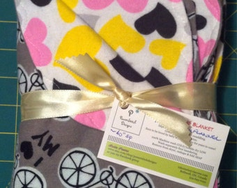 Baby Girl Bicycles Flannel double layer receiving blanket.