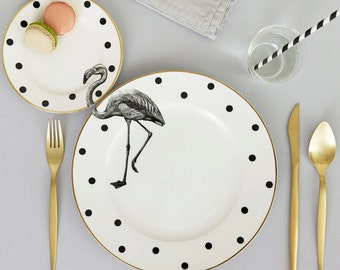 Fancy Flamingo plate set