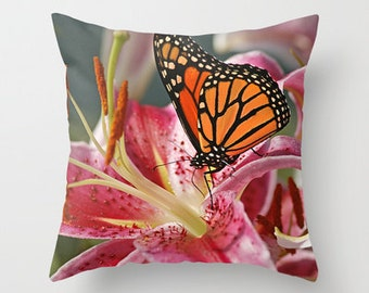 Monarch Butterfly Photo Throw Pillow, Throw Pillow, Butterfly Pillow, Nature, Photography