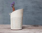 White Ceramic Vase , Modern Print Vase , Pattern Vase ,Ceramic flower pot ,Ceramic  Kitchen Utensil Holder, White Utensil Jar, Kitchen Crock