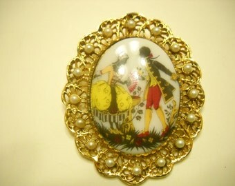 Vintage Milk Glass Brooch, Rococo Scene, Adorned With Faux Pearl Oval Frame (5824)