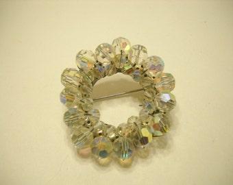 Gorgeous Austrian Crystal Circle Pin (294) So Sparkly!