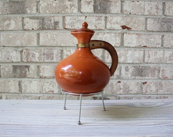 SALE // BAUER POTTERY burnt orange coffee carafe with lid wooden handle and stand drink pitcher