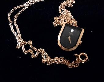 Pulsar Gold Tone Pendant Watch,  Black Face,  New Battery