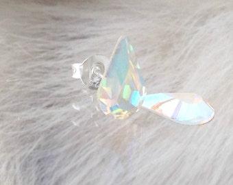 Vintage Swarovski Pear Tear Drop Crystal AB Iridescent Stud Earrings 10mm Rhinestones Minimalist Hypo Titanuim Silver Post Jewelry