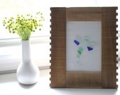 Sea Glass Art, Dragonfly in Wood Frame