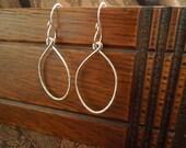 Hand Hammered Silver Elongated Hoop Earrings