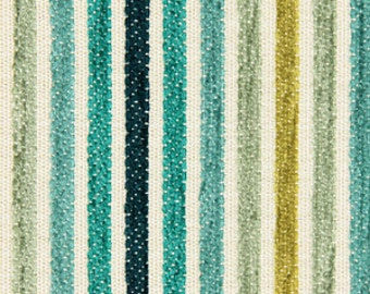 Turquoise Chenille Upholstery Fabric - Striped Aqua Blue Woven Heavyweight Upholstery - Blue Green Chenille Pillow Cover Fabrics Online
