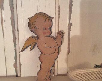 Antique cardboard Cherub