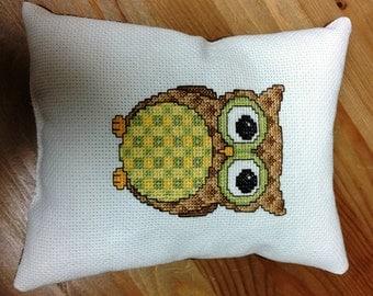Cross Stitch Owl Decorative Pillow - Small