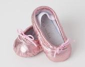 Baby Ballet Slippers - Metallic Pink- premie newborn toddler ballet slippers moccasins