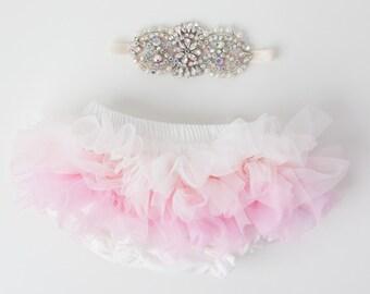 Tutu Bloomers - Ombre Ivory Pink & AB crystal 1920s Art Deco Crown headband - diaper cover ruffle newborn bloomers cake smash set newborn