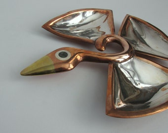 Los Castillo Copper and Silver Bird Tray. Mixed Metals.