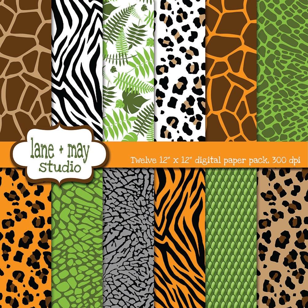 digital scrapbook papers safari jungle animal print patterns