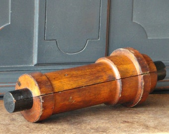 Vintage Industrial Wood Mold, Foundry, Natural Wood, Cylindrical, 2 Piece, Urban Rustic, Home, #7-89