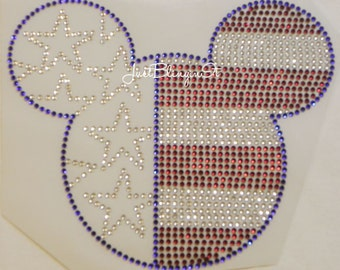 Mickey Inspired Patriotic Mouse Hot Fix Iron On Rhinestone Transfer Bling