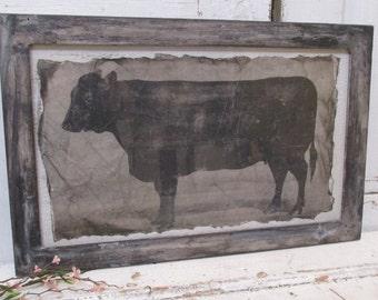 Framed bull cow print distressed farmhouse handmade wood frame hand torn large print deep natural colors home decor anita spero design
