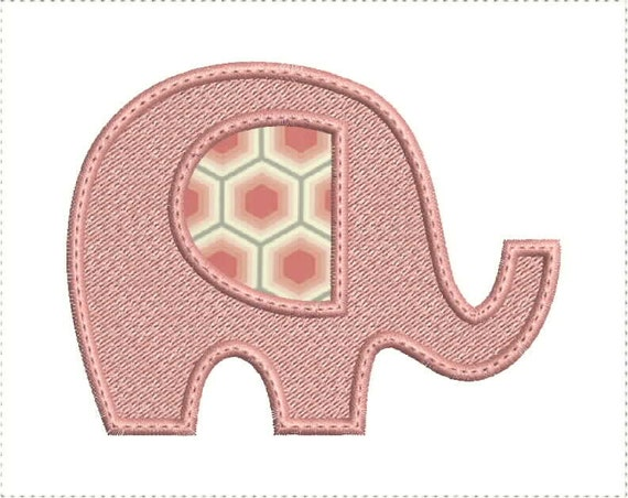 Elephant applique machine embroidery design hoop