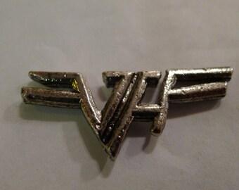 Vintage VAN HALEN Logo Pin Metal Pin Biker Jacket Metal Necklace Rock Eddie Van Halen Heavy Metal