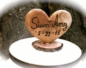 Rustic Wedding Cake Topper - Wooden Heart Cake Topper - Wedding Cake Topper - Fall Wedding Cake Topper - Heart Cake Topper - Fall Weddings