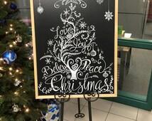 Seasonal chalkboard sign christmas tree