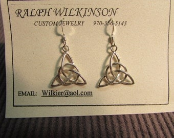 Hand Made Celtic Triquetra Earrings Sterling Silver
