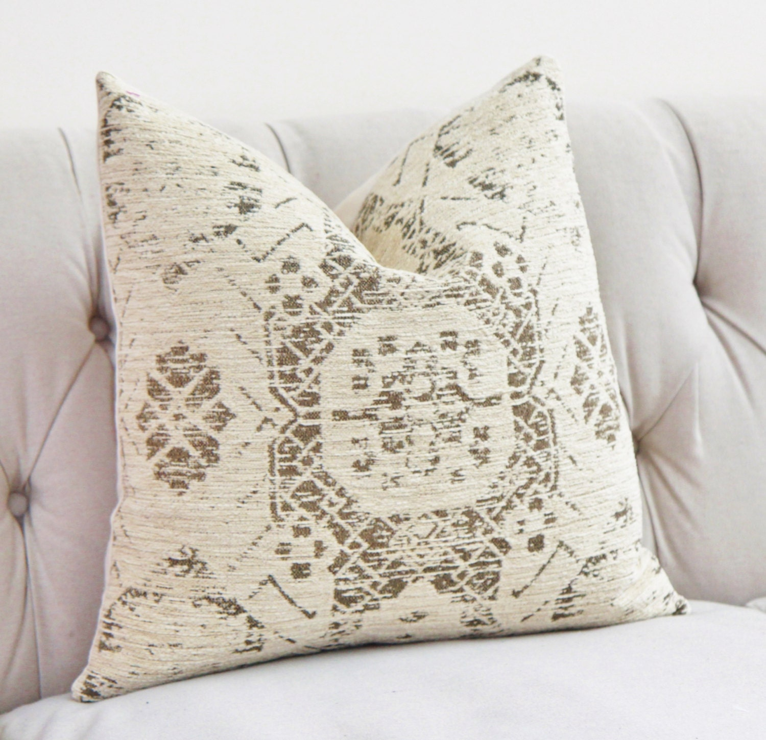 Ivory Pillow Creme Beige Medallion Pillow Cover Moroccan