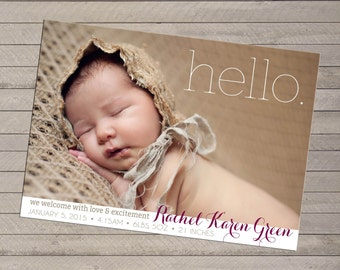 Photo Birth Announcement, Print yourself - For Baby Boy or Girl