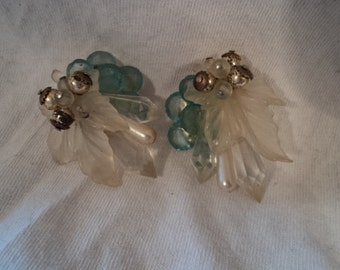 Vintage sea crystals blue and white quartz like clip on earrings